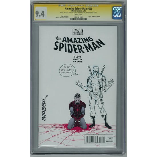 Amazing Spider-Man #655 CGC 9.4 (W) Signed & Sketch Carlo Barberi *1062481001*