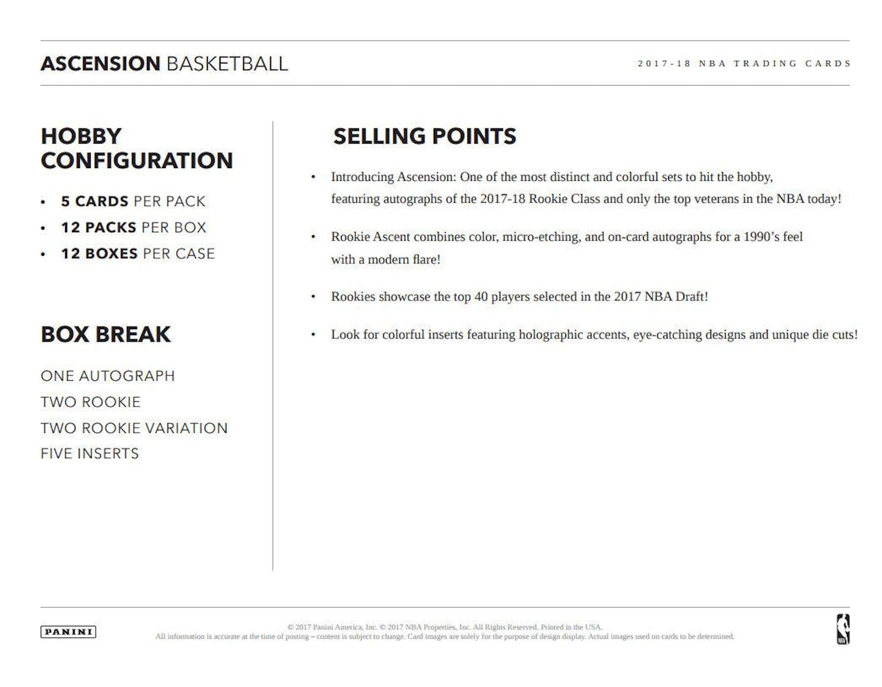 0ca6a125699 2017 18 Panini Ascension Basketball Hobby Box ...