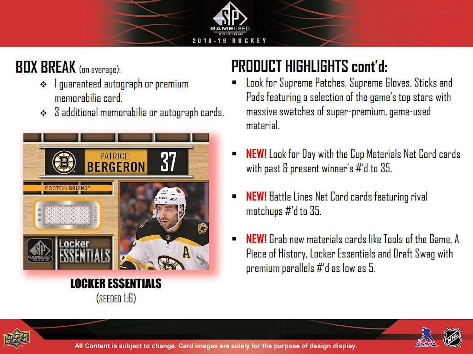 afc1ad8ff38 2018 19 Upper Deck SP Game Used Hockey Hobby Box ...