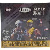 2019 Sage Hit Premier Draft High Series Football Hobby Box