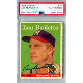 1958 Topps Baseball #10 Lew Burdette PSA/DNA Authentic Signed Auto *3486