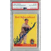 1958 Topps Baseball #190 Red Schoendienst PSA/DNA Authentic Signed Auto *7233