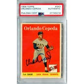 1958 Topps Baseball #343 Orlando Cepeda RC PSA/DNA Authentic Signed Auto *5019