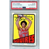 1972/73 Topps Basketball #195 Julius Erving RC PSA/DNA Authentic Signed Auto *5234