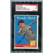 1958 Topps Baseball #202 Woody Held SGC A Signed Auto *4110