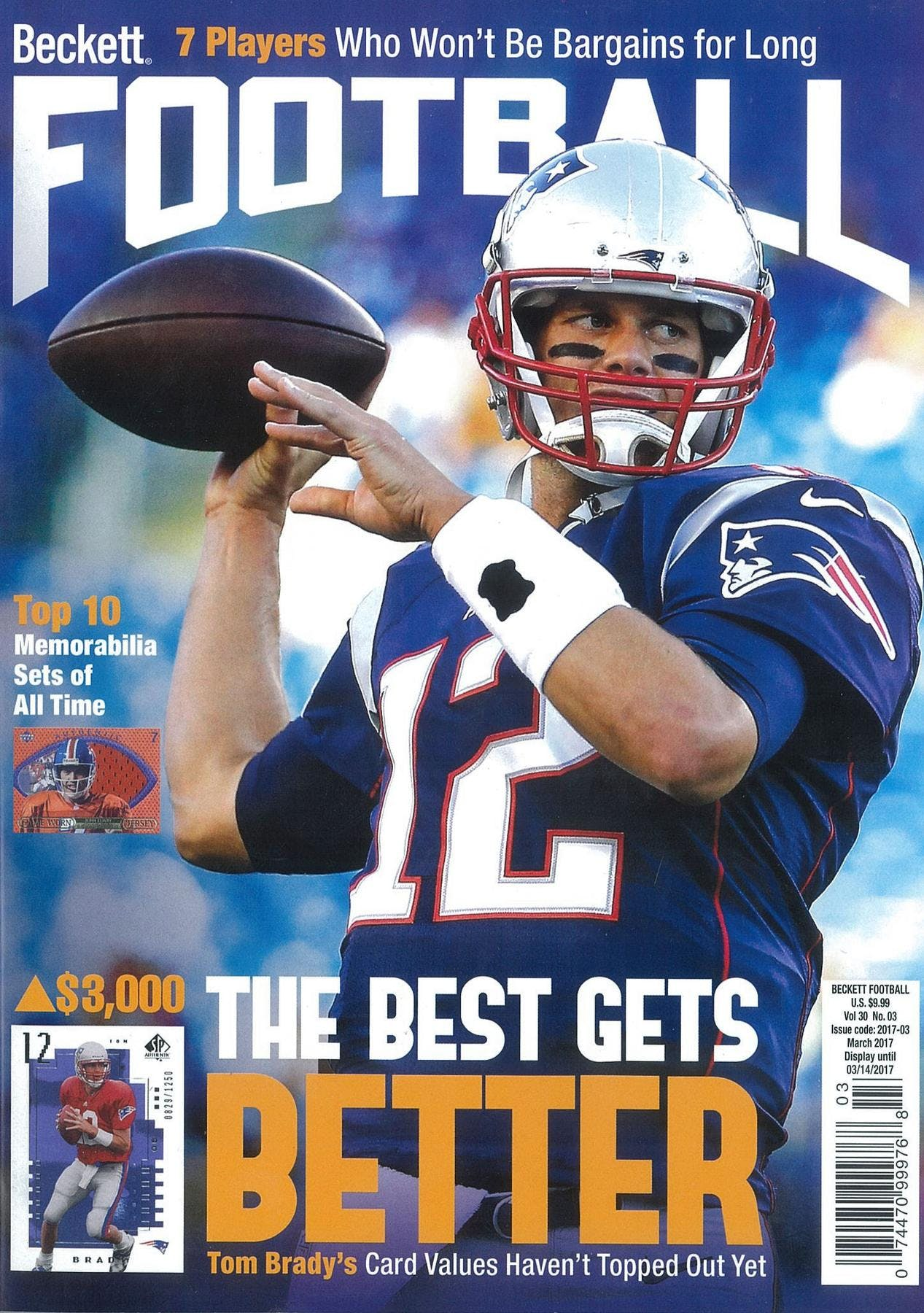 2017 Beckett Football Monthly Price Guide (#314 March) (Tom Brady)