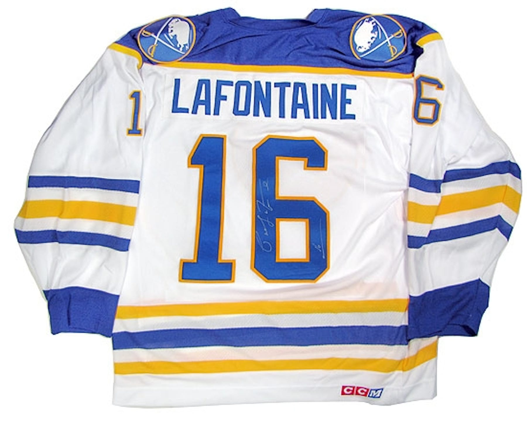 Pat LaFontaine Autographed Buffalo Sabres Throwback White Jersey ... be35c1def