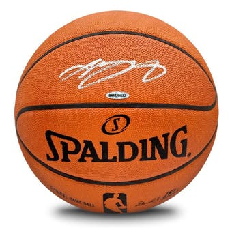 LeBron James Autographed Silver Signature Spalding Basketball UDA
