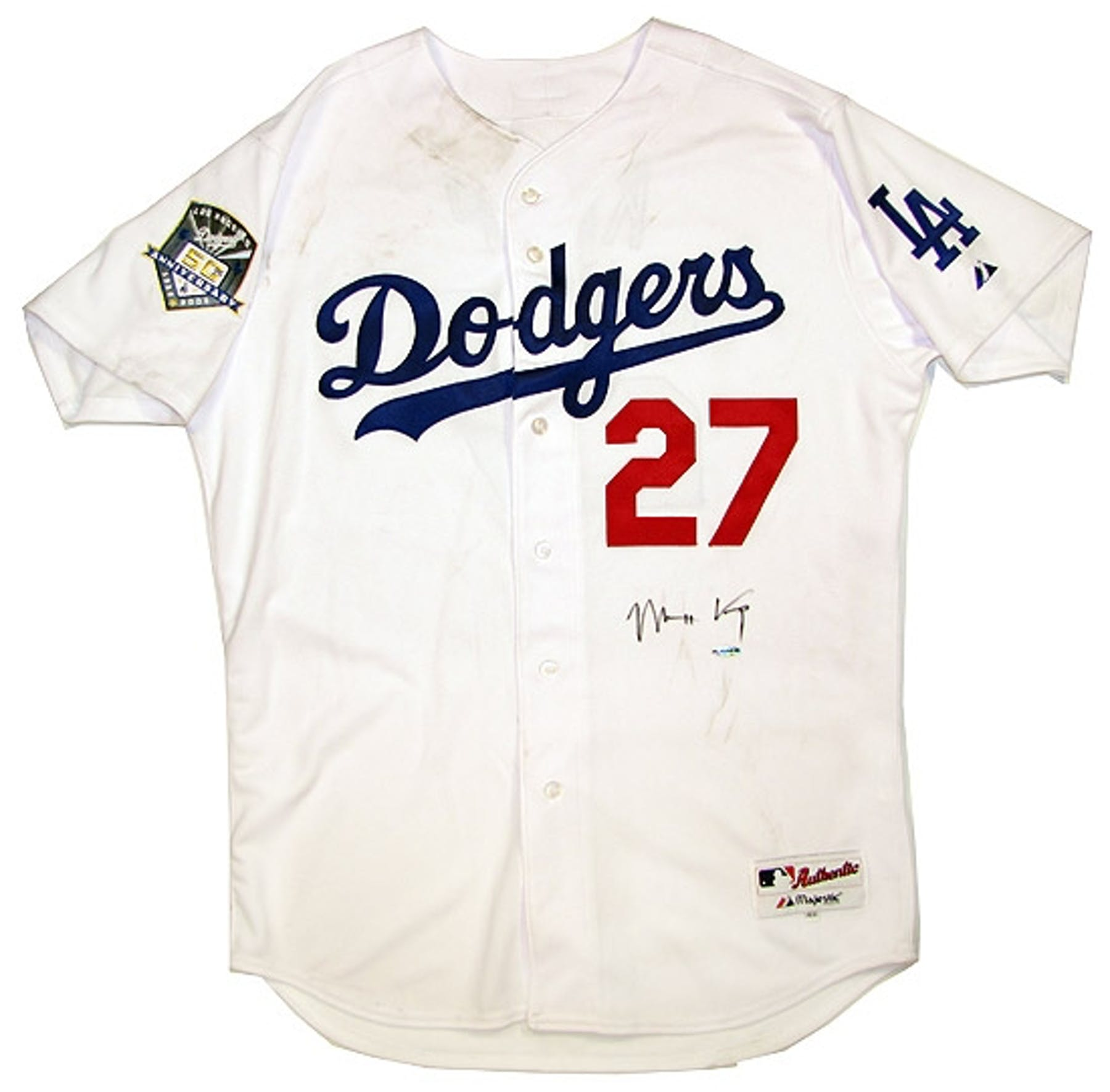 Matt Kemp Autographed Los Angeles Dodgers Slightly Stained White Jersey  (DAC  915eaf7c9a9