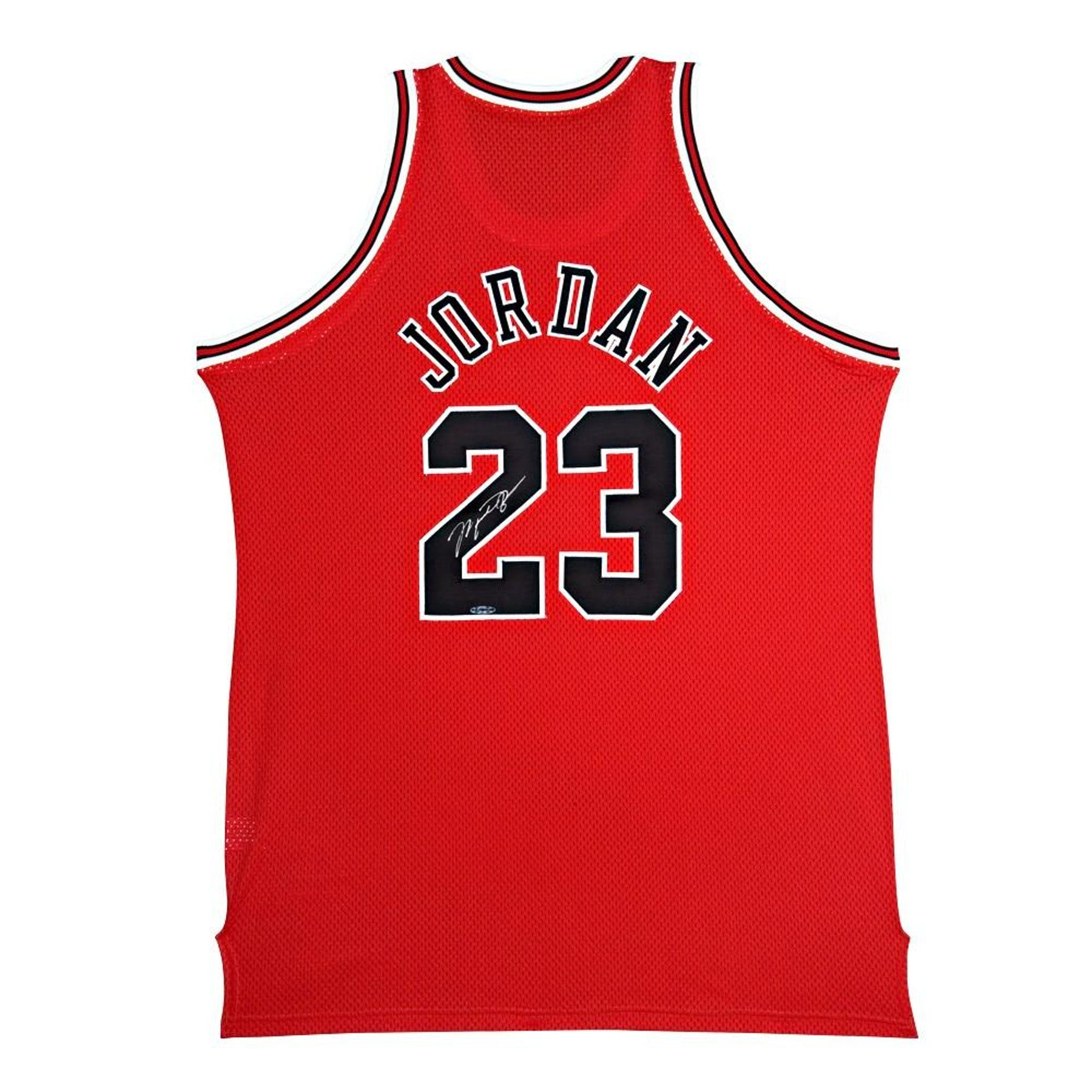 82291c25a Michael Jordan Autographed Chicago Bulls Red Basketball Jersey UDA ...