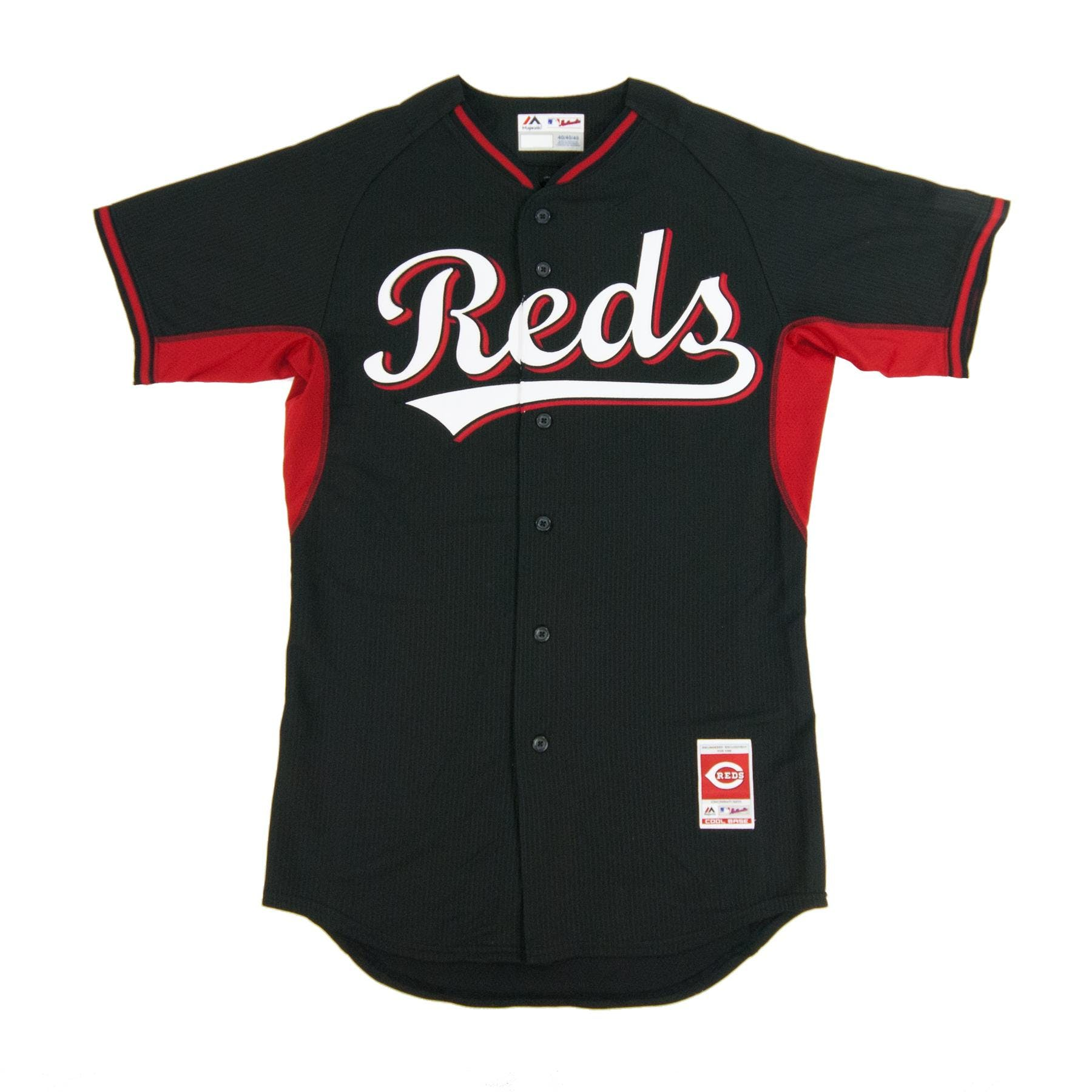 3af925438 Cincinnati Reds Majestic Black BP Cool Base Authentic Performance Jersey