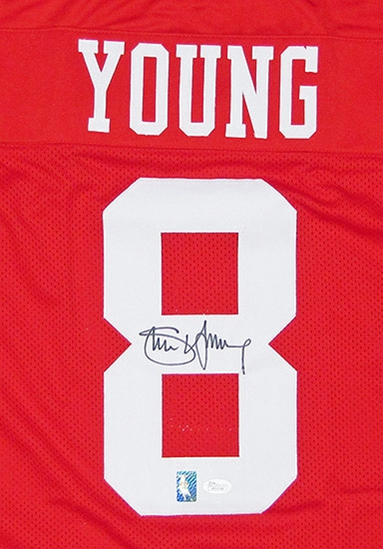Steve Young Autographed San Francisco 49ers Red Throwback Football Jersey ( JSA COA) 69423e238